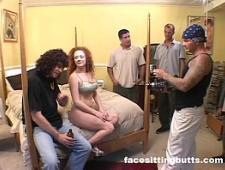 Трое ебут жену при муже